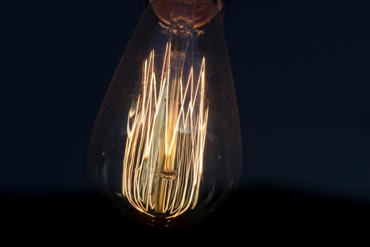 Close up of a filament light bulb. Taken through glass.