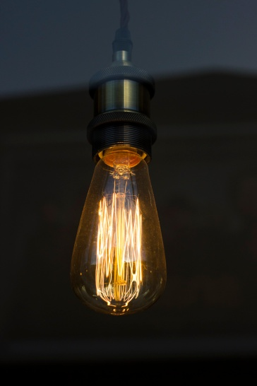Close up of a filament light bulb. Taken through glass.