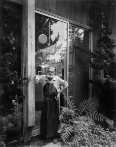 Black and white photograph of Ansel Adams by Arnold Newman