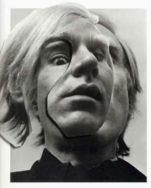 Black and white photographic collage of Andy Warhol by Arnold Newman