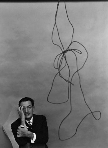Black and white photograph of Salvador Dali by Arnold Newman