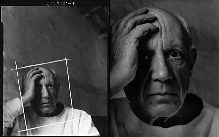 Black and white photograph of Picasso by Arnold Newman