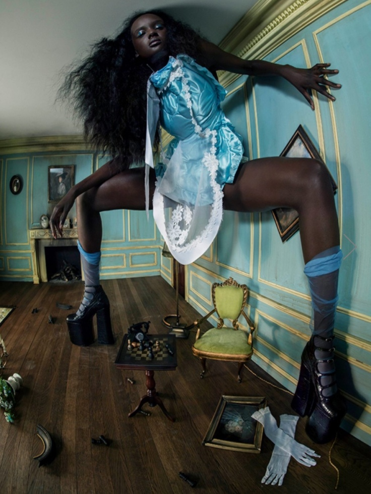 Duckie Thot as Alice in Wonderland, by Tim Walker. Pirelli Calendar, 2018