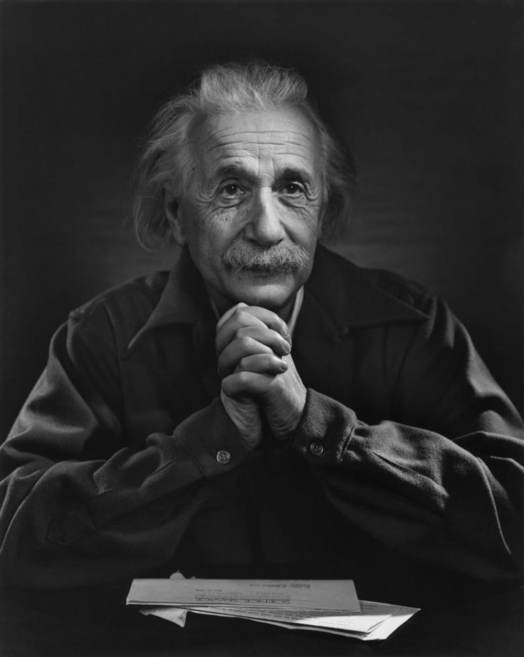 Black and white photograph of Albert Enstein by Yousuf Karsh, taken in 1948