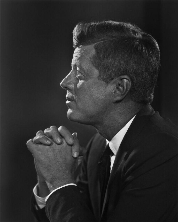 Black and white photograph of John F. Kennedy in profile by Yousuf Karsh