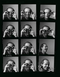 Black and white contact sheet of photographs of the actor, Jack Nicholson, by Michael O'Neill