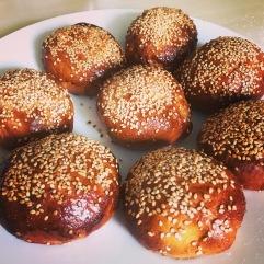 Chocolate, date and hazelnut pretzel buns